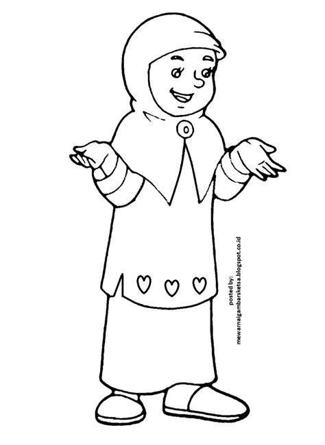 Baik itu dalam bentuk kartun, ataupun gambar biasa. Mewarnai Gambar: Mewarnai Gambar Sketsa Kartun Anak Muslimah 5