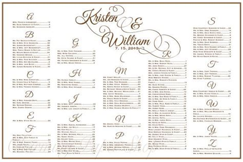 Wedding Table List Template by Wedding Seating Chart Table Seating Assignments