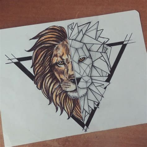 geometric lion tattoo tumblr