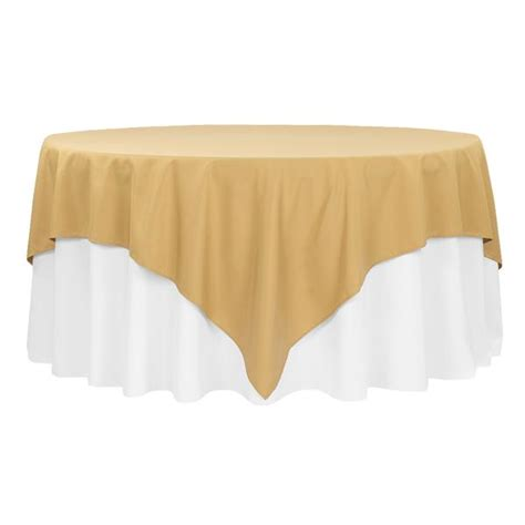 "Economy Polyester Tablecloth 90""x90"" Square Gold CV Linens"