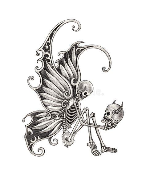 Art Skull Fairy Tattoo Stock Illustration Image