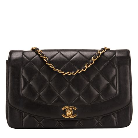 chanel vintage black quilted lambskin diana single flap
