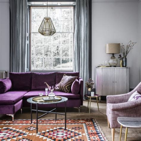 room reveal purple  grey living room sophie robinson