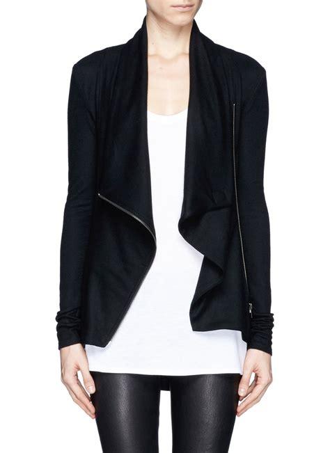 Helmut Lang Draped Jacket - helmut lang drape collar zip wool jacket in black lyst