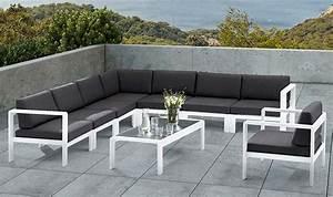 Salon Jardin Angle : salon de jardin bas d 39 angle design 8 places blanc et gris ~ Teatrodelosmanantiales.com Idées de Décoration
