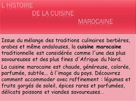 histoire de la cuisine et de la gastronomie franaises la gastronomie marocaine ppt t 233 l 233 charger