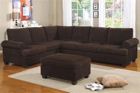 reversible l shape couch in deep chocolate corduroy finish