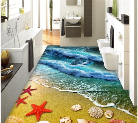 3d floor painting wallpaper Beach sand starfish shells