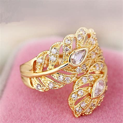 new design gold color big wedding rings vintage aaa zircon leaf engagement rings for