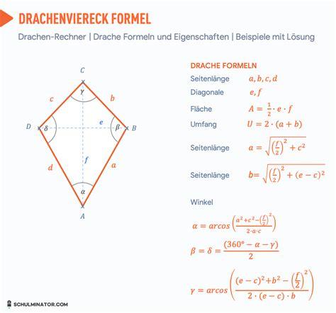 drachenviereck formel berechnen umfang flaeche diagonale