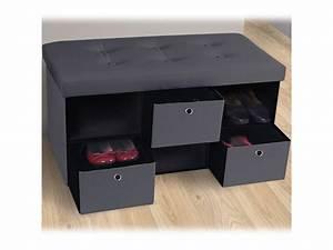 Banc Coffre De Rangement Conforama : banc coffre 3 tiroirs gris 76x38x38 cm pvc pliable vente ~ Dailycaller-alerts.com Idées de Décoration