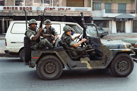 vietnam jeep war marines drive an m151a2 jeep in beirut lebanon 1983