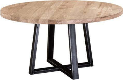 bolcom eiken tafel rond  doorsnede ijzer onderstel