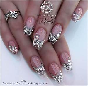 silver glitter rhinestones gradient french nails | Polish ...