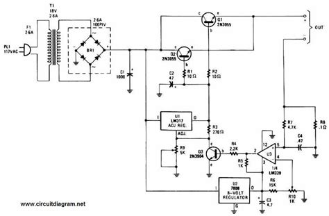 Adjustable Regulated Battery Charger Schema