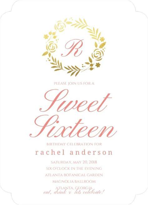 Classic Pink Gold Foil Wreath Sweet Sixteen Birthday