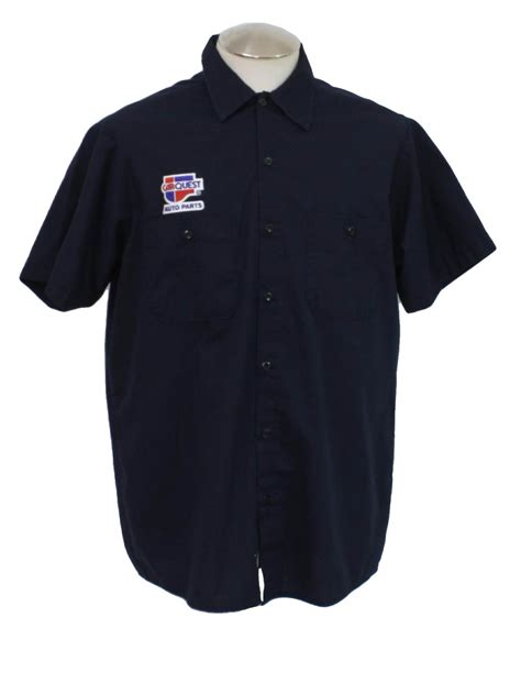 retro shirt  cintas mens navy blue shortsleeve polyester cotton work shirt