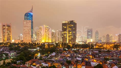 video timelapse view  jakarta city  night