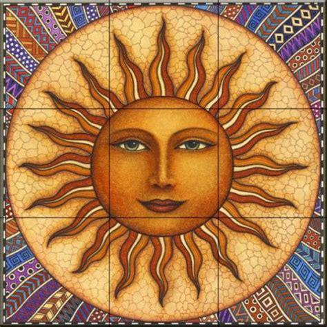 Celestial tiles-Sun and Moon-Celestial Sun-Tile Mural