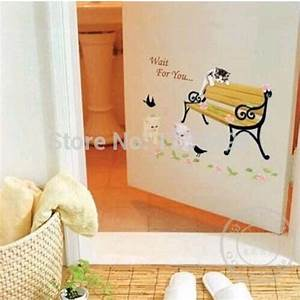 Cute cartoon cats vinyl wall stickers for kids rooms diy for Cute sayings for bathroom walls