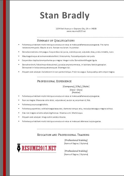 Resume Format 2017 by Free Resume Templates 2017