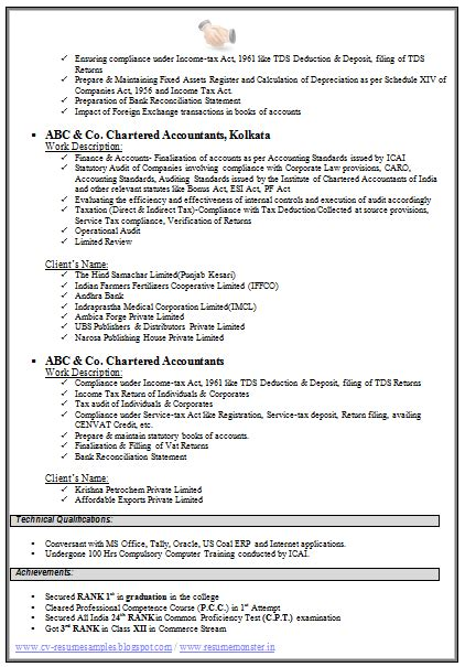 Resume Format For An Accountant by Chartered Accountant Resume Format Freshers Page 2 Cv
