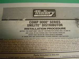 Find Mallory Comp 9000 Unilite Chevy Distributor W   Slip Collar  U0026 Bronze Gear New Motorcycle In