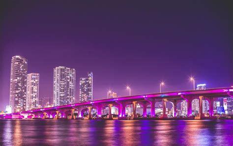 purple bridge night usa skyscrapers miami cityscape