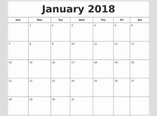 January 2018 Printable Calendar calendar template excel