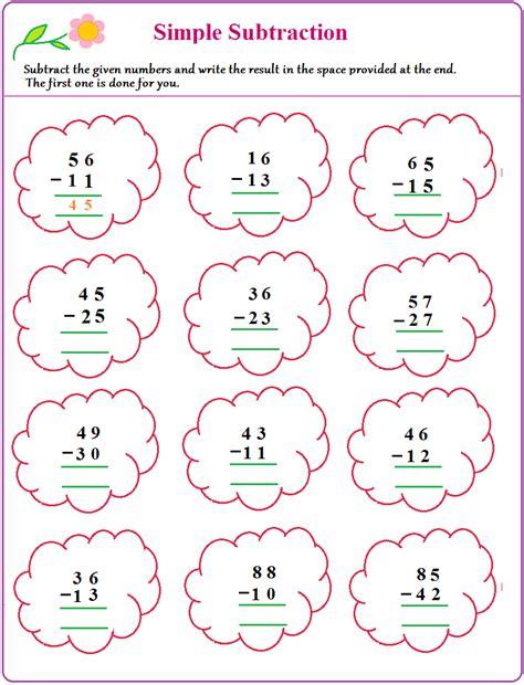 worksheet  simple subtraction