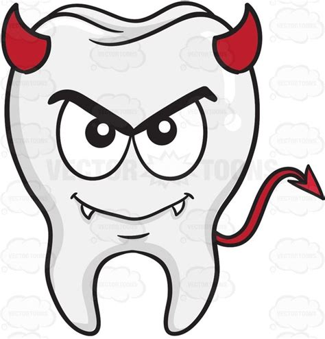 Devil Tooth Smiling With Fangs Horns And Tail Cartoon