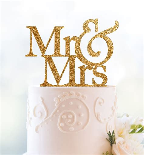 Gold Or Silver Glitter Mr And Mrs Wedding Cake Topper