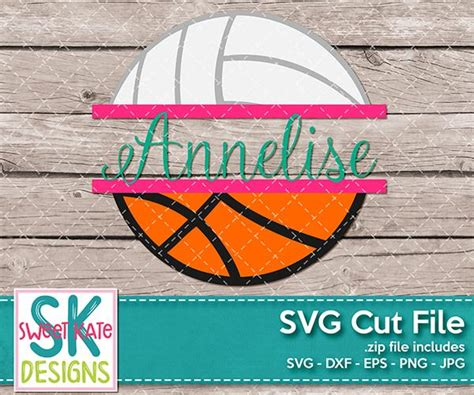 split basketball  volleyball svg dxf eps png jpg sweet kate designs