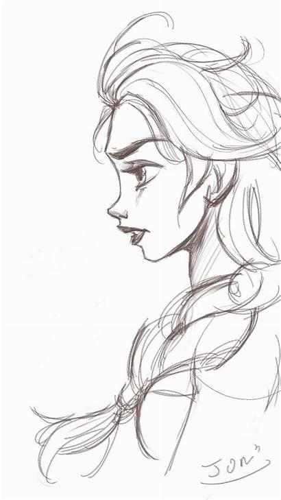 Frozen Elsa Drawings Characters Disney Sketches Character