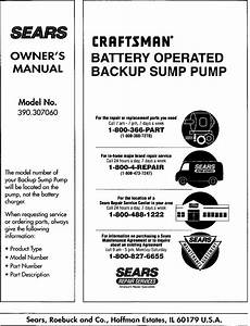 Craftsman 390307060 User Manual Backup Sump Pump Manuals