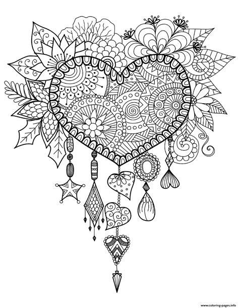 adult dreams catcher heart mandala zen coloring pages