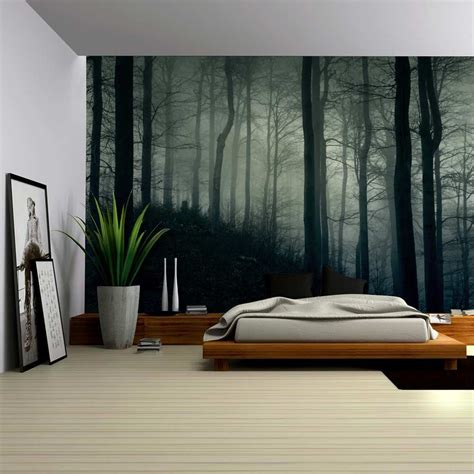dark  misty forest wall mural removable sticker