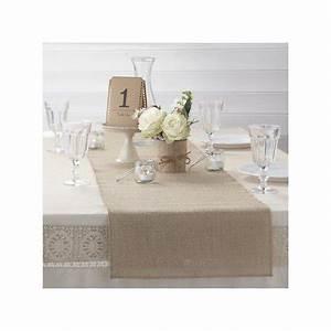 Chemin De Table Anniversaire : chemin de table toile de jute naturelle mariage ~ Melissatoandfro.com Idées de Décoration