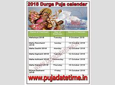 2018 Durga Puja Calendar, Maa Durga Puja Schedule Calendar