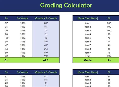 school grading calculator  excel templates