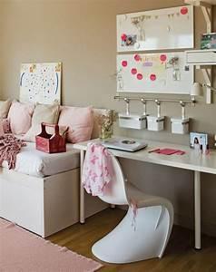 Deko Für Weiße Möbel : modernes m dchenzimmer beige wandfarbe wei e m bel und rosa akzente jugendzimmerr ~ Indierocktalk.com Haus und Dekorationen