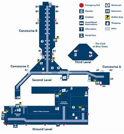Airport Map Kentucky Terminal Lex Lexington Ky