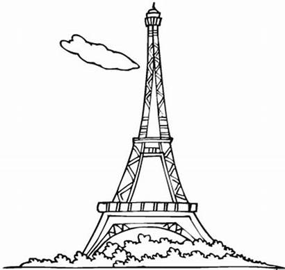 Tower Eiffel Coloring Outline Drawing Pages Face