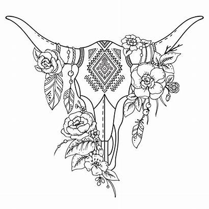 Skull Flowers Head Floral Abstract Animal Cow