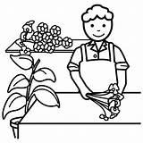 Florista Colorear Dibujos Profesiones Coloring Flower Persone Floreros Fioraio Personas Oficios Dibujalia Tienda Bits Mestieri Guardado Desde Cz Google Colorare sketch template