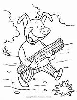 Pigs Coloring Three Pig Pages Stick Wolf Story Printable Bad Road Builds Drawing Bricks Straw Map Down Printables Getdrawings Let sketch template