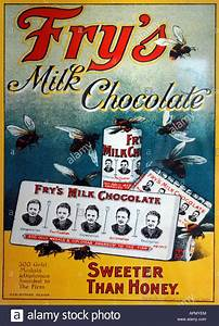 Old fashioned Fry's Milk Chocolate advert poster Stock ...