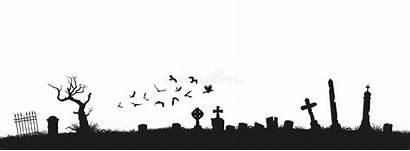 Graveyard Cemetery Silhouettes Tombstones Gravestones Vector Crosses