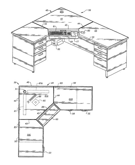 corner desk design plans patent us6953231 computer corner desk with wire