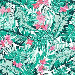 vector seamless bright green tropical pattern with leaves ...